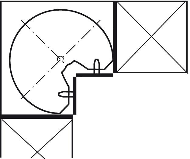 dreiviertelkreis drehbeschlag kesseb hmer revo f r eckschrank mit 90 t ren im h fele. Black Bedroom Furniture Sets. Home Design Ideas