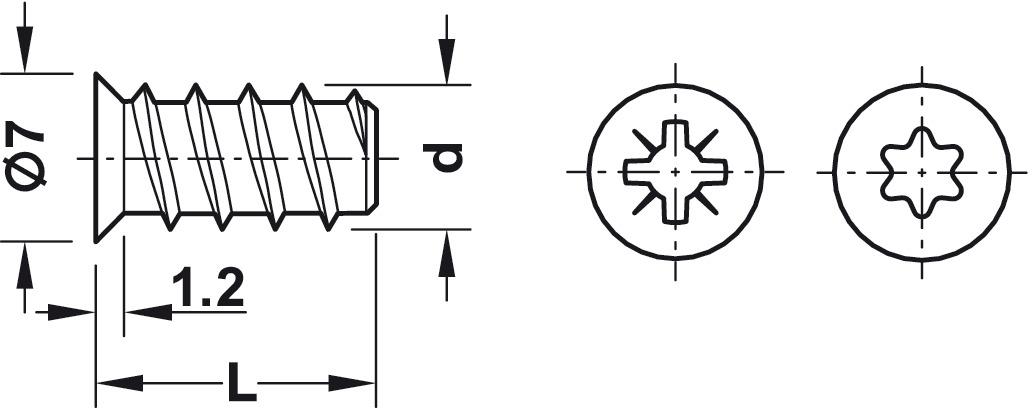 euroschraube h fele varianta senkkopf pz stahl vollgewinde f r bohrungen 5 mm in holz. Black Bedroom Furniture Sets. Home Design Ideas
