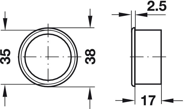 Häfele Lüftungsring Möbel-Belüftung Lüftungsgitter Tür-Lüftung weiß Ø 38 mm